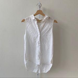 Cloth & Stone Sleeveless White Split Back Shirt S